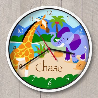 Olive Kids 12 Wild Animals Personalized Wall Clock Color Products Clock For Kids Personalized Clocks Kid Beds