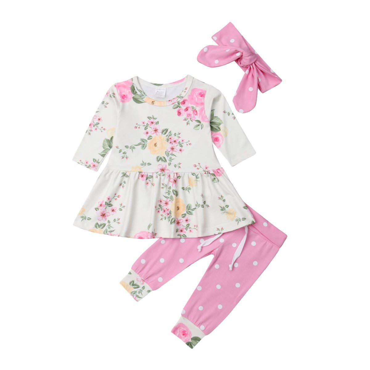 Baby floral tunic top, pants and headband set  Roupas femininas