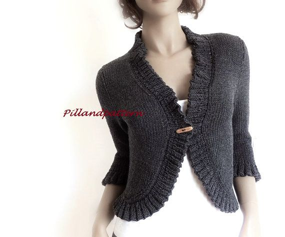 Knitting Pattern Women S Bolero Ruffled Borders Cardigan Women Sweater Knit Sweater Instant Download Pdf Available Only In English Knitting Women Cardigan Knitting Women Knitting Women Sweater