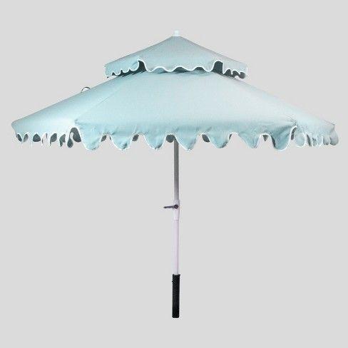 9 Tiered Scalloped Canopy Patio Umbrella Aqua White