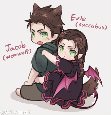 Evie i don't see as a succubus... But Jacob would make a good werewolf