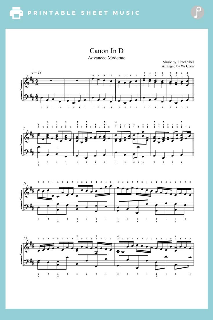 Canon In D By Pachelbel Piano Sheet Music Advanced Level In 2020 Sheet Music Piano Sheet Music Piano Sheet
