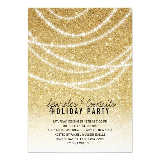 Stylish Holiday Gold Glitter Sparkles Party Invite – Custom Holiday Party Invitations
