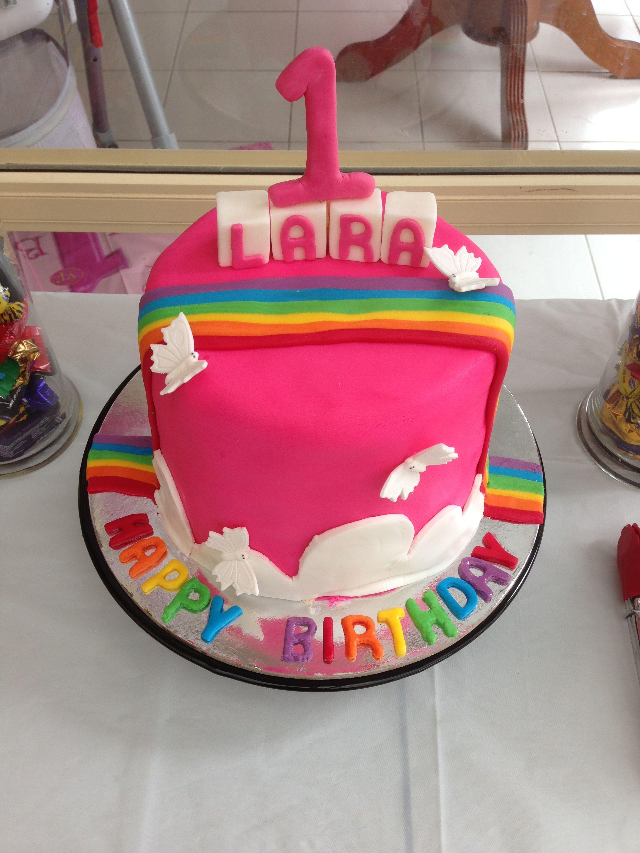 Rainbow Cake 1st Birthday Girls Party