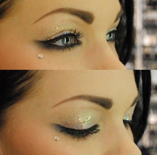 Smudgey and glittery (eyeliner and eye shadow) makeup