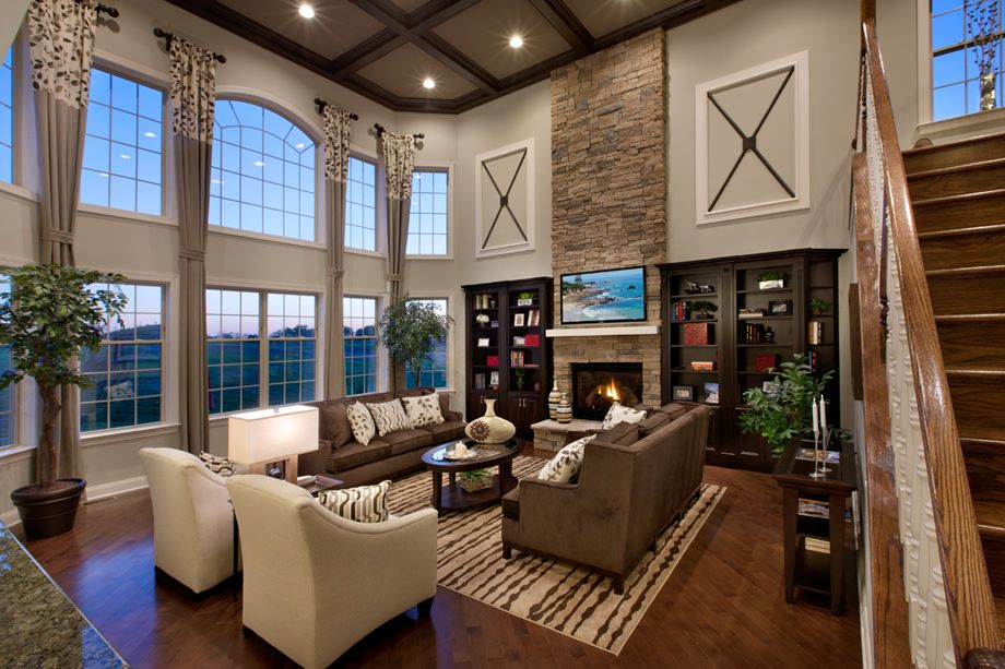 2 Story Living Room Lots Of Windows Stone Fire Place