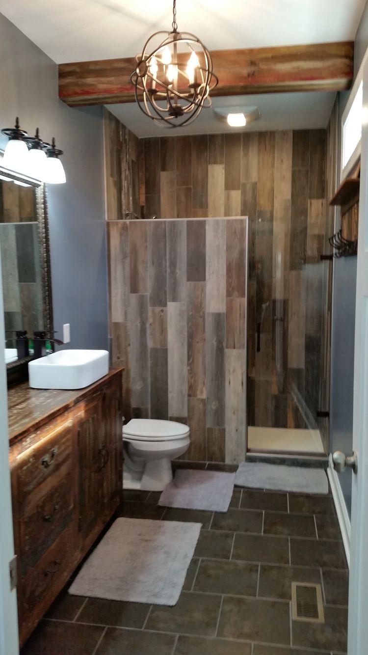 Bathroom remodel wood look tile Diy bathroom remodel