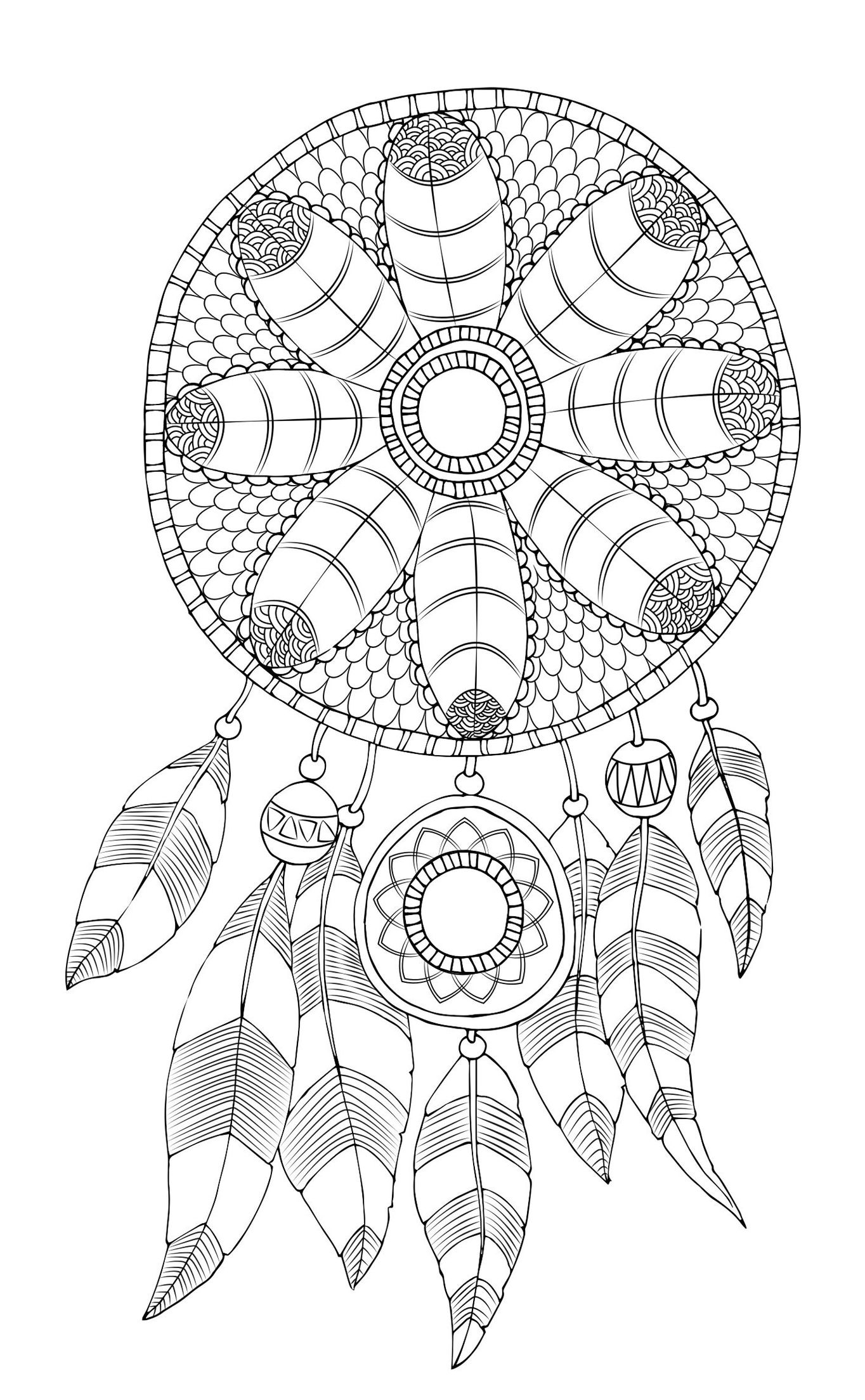 Free Adult Coloring Page Dreamcatcher DreamCatcher