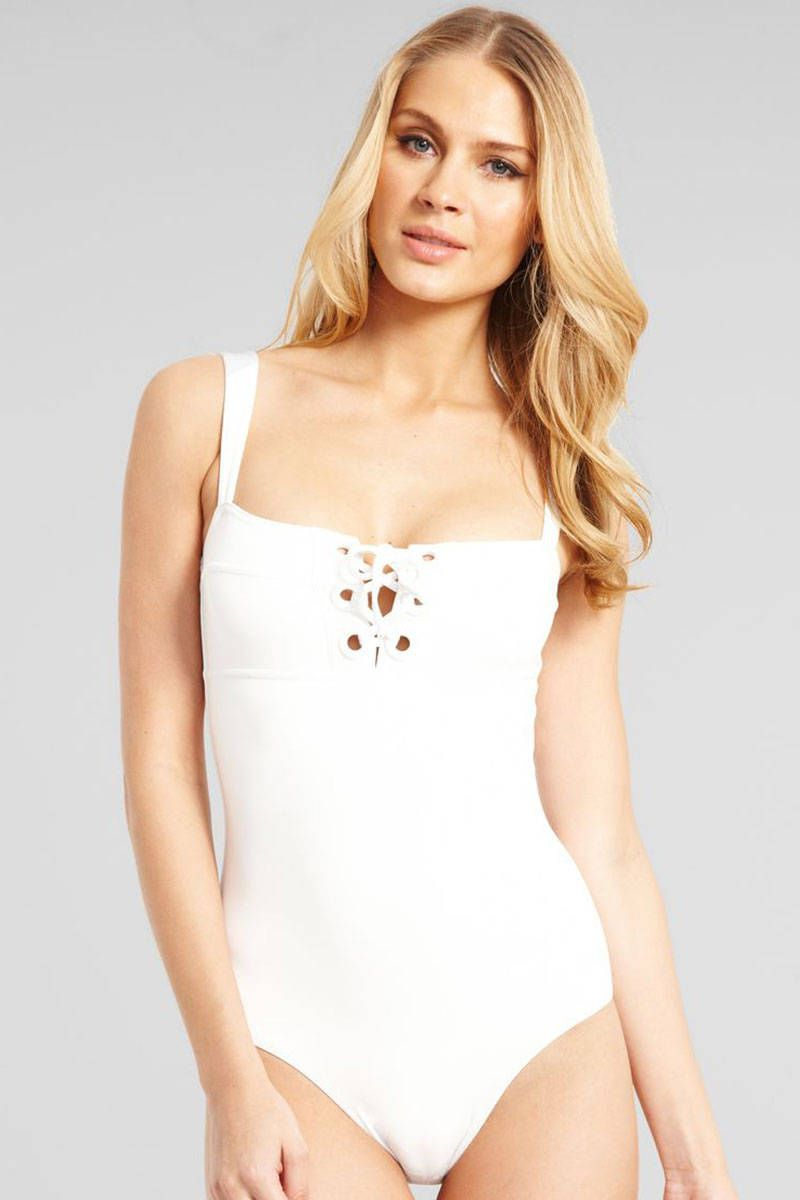 6fb1280016bed We Found It: That Elusive White-Hot One-Piece   fashion   Swimsuits ...