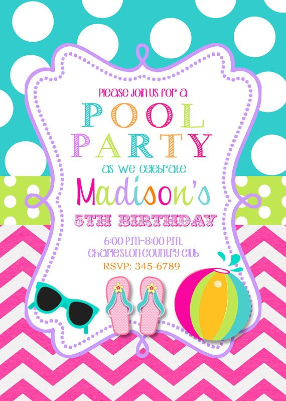 Pool Party Invitations With EnvelopesSwim Paty Swimming Party
