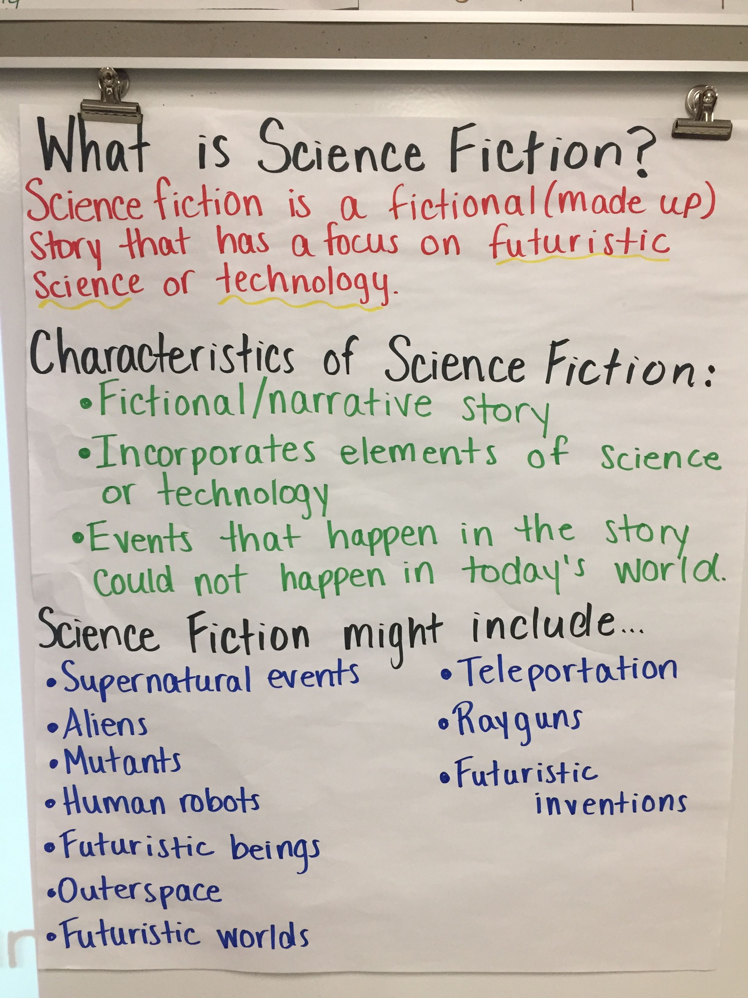 Reading Workshop Anchor Charts Science Fiction Middle