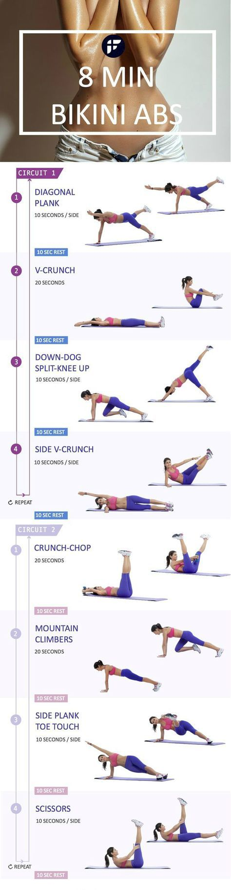 Cinch your entire core and get your tummy slim and tight with this at home bikini abs workout. Complete this sequence once a week and maintain a healthy diet to achieve a firm stomach in no time! Bikini season, here you come #weightloss #loseweight #work