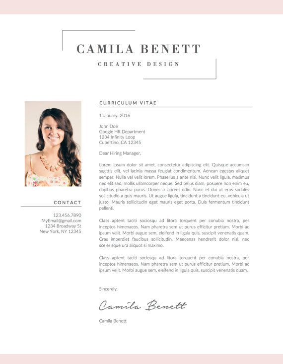 Modern Resume Template, Cover Letter, US Letter, A4, Word, CV ...
