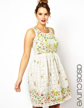 Image 1 ofASOS CURVE Exclusive Salon Dress In Lace Embroidery