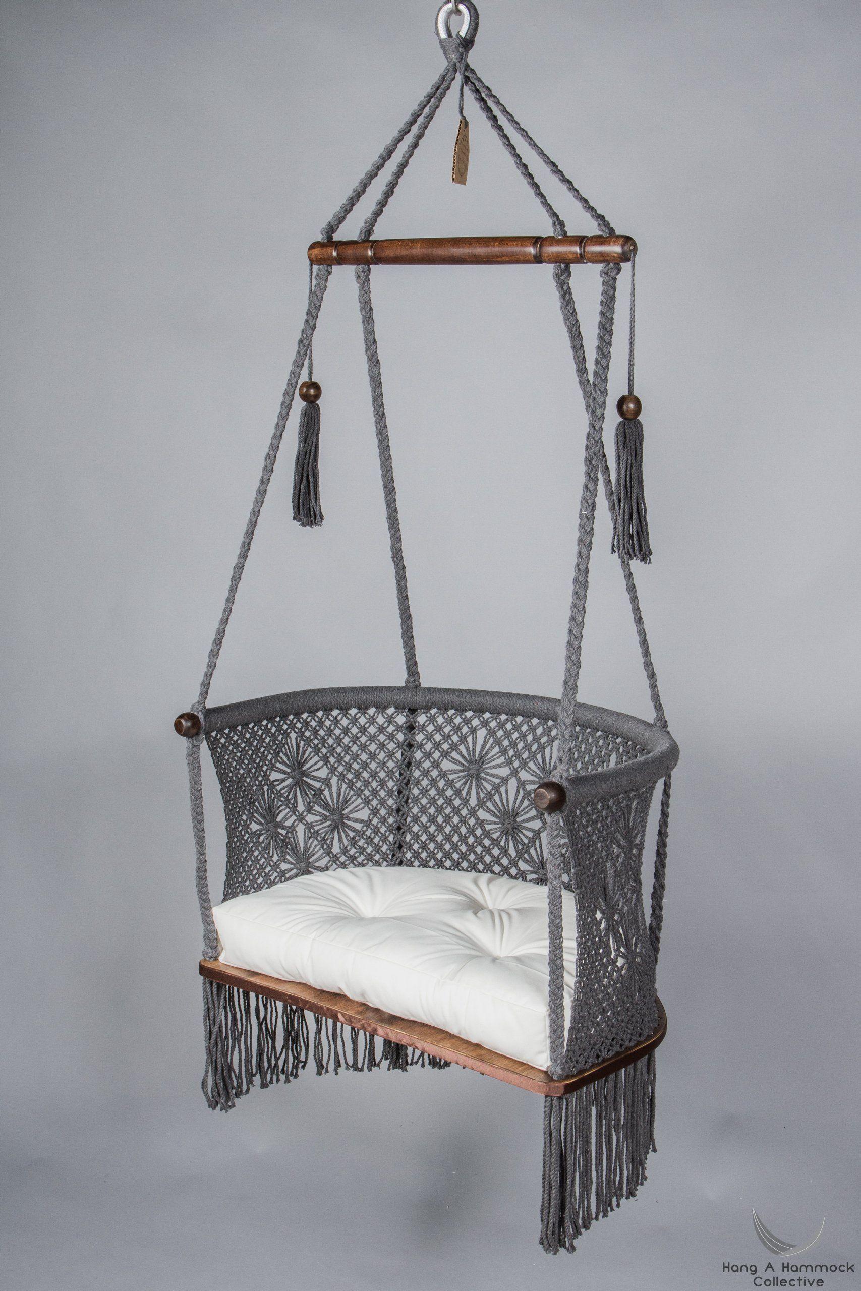 Macrame Hanging Chair in Grey Dark wood