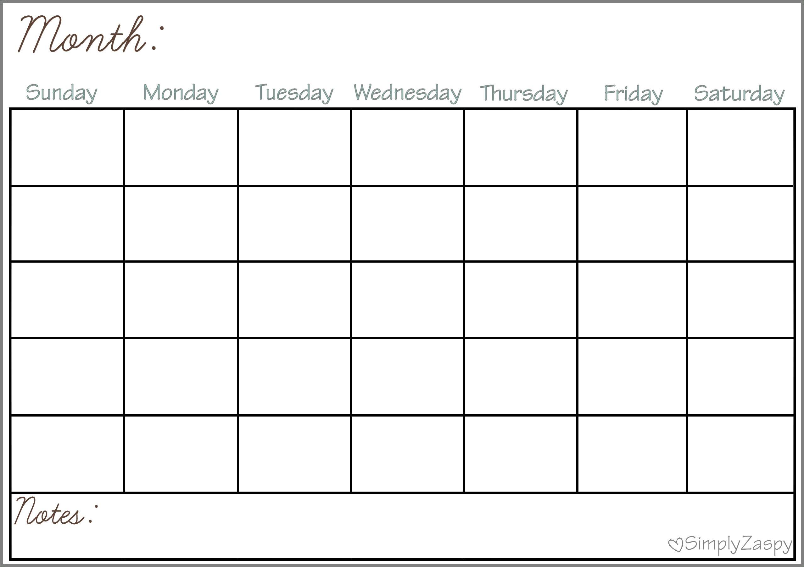 Blank Calendar Chart For Classrooms