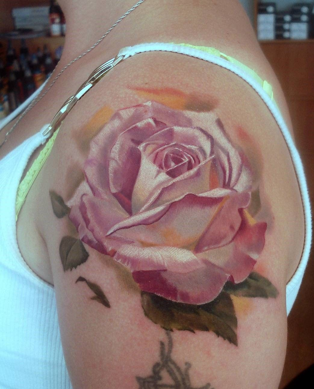 146d3a91c9fb7 rose-tattoos-color-shoulder-arm-design The Most Lovely and Beautiful ever  inked #rose #tattoo designs to get inked