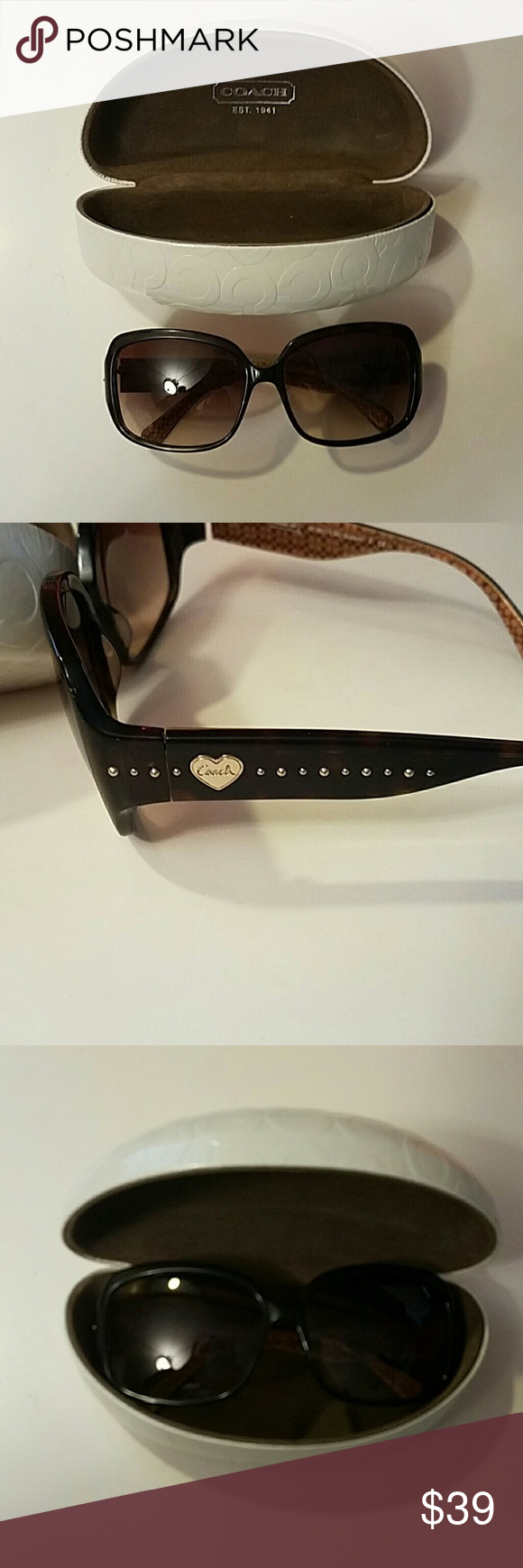 537a6aadb Coach Brown Sunglasses Adorable brown sunglasses from Coach. Has a heart  with coach written inside