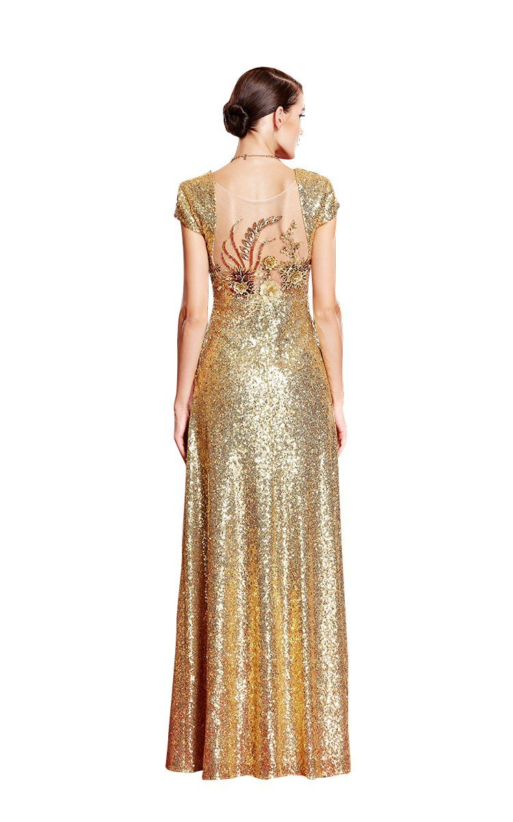 Beautyemily maxi long aline seethrough vneck cap sleeve sequin
