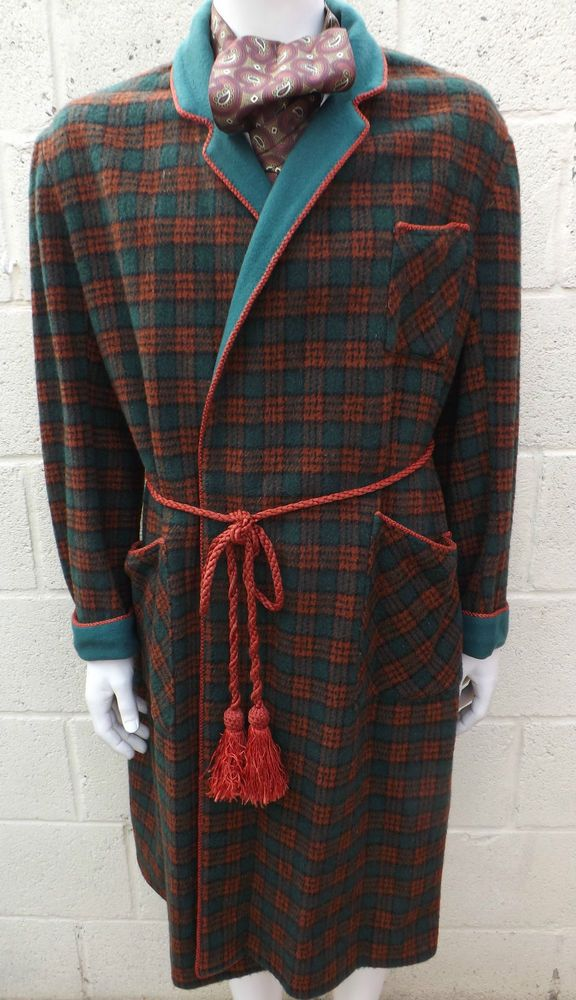 Vintage 1940s WW2 Mens Green/Red Tartan Wool Dressing Gown Smoking ...