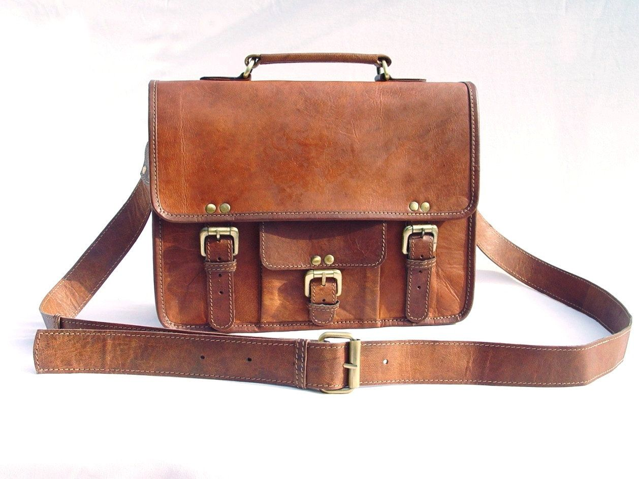 Leather Messenger Bag / Satchel - Vintage Retro Looking - (Small ...