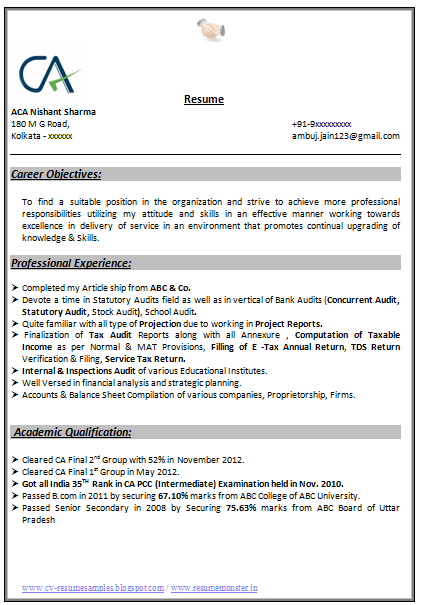 Professional Curriculum Vitae / Resume Template For All Job Seekers Sample  Of Template Of An Excellent Indian Chartered Accountant Experienced Resume  Sample ...