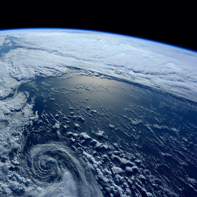 It looks so peaceful from space, but this was a serious storm south of #Alaska.