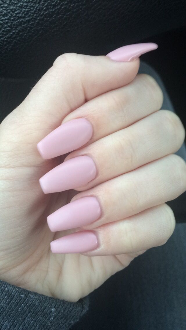 Pale pink #matte nails #coffinnails #pink #girly #nude #nails | Make ...