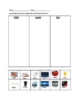 solid liquid gas sort worksheets students and montessori. Black Bedroom Furniture Sets. Home Design Ideas
