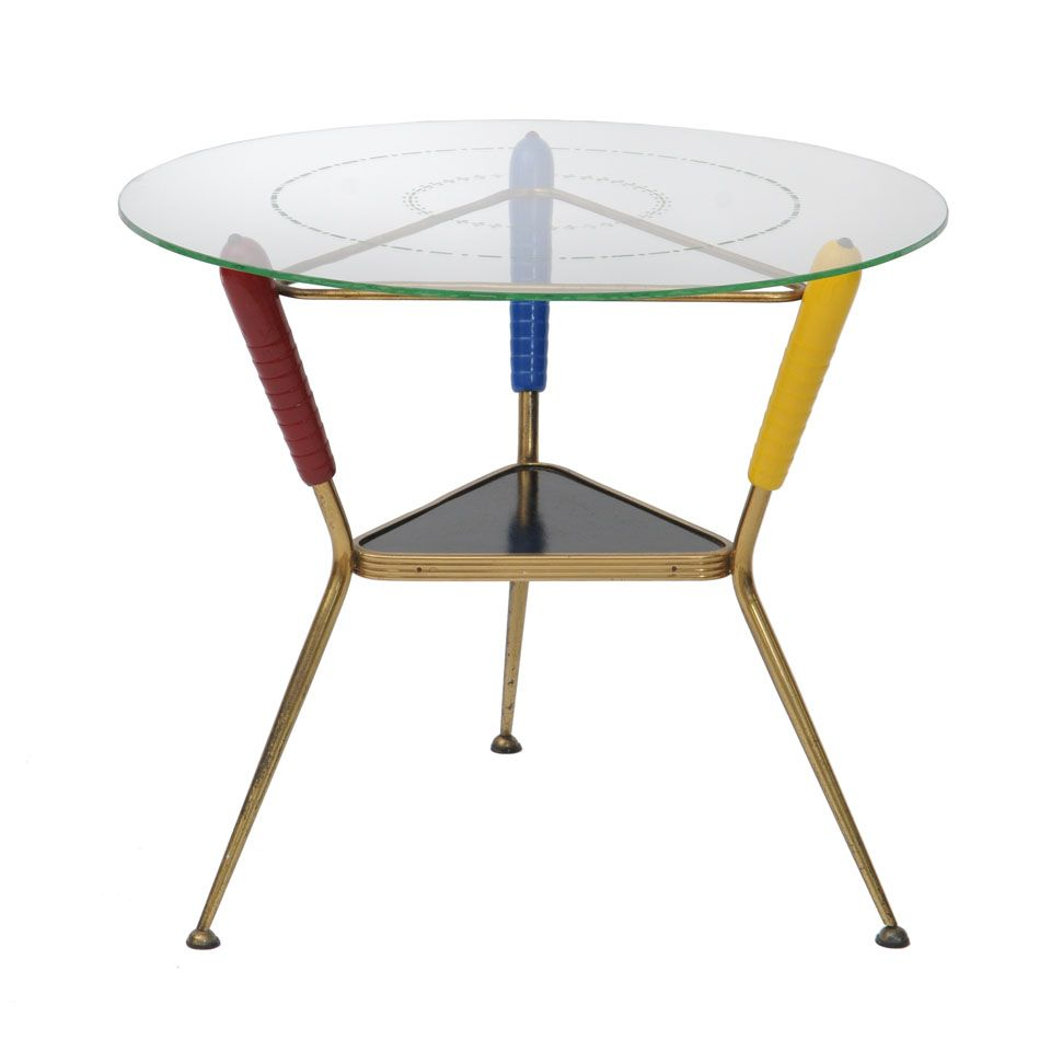 American Mid Century Modern Atomic Age Small Patio Round: Modernism Sputnik Cocktail Table