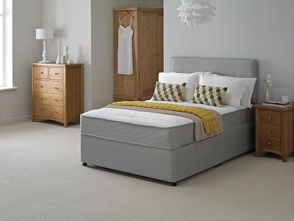 New Grey Quilted Memory Divan Bed Sprung Foam Mattress 3ft 4ft 4ft6 5ft