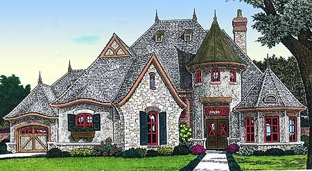 Grand Entry And 2nd Story Sun Deck Country Style House Plans French Country House Fairytale Cottage