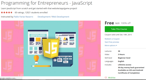 Programming for Entrepreneurs JavaScript http//hii.to