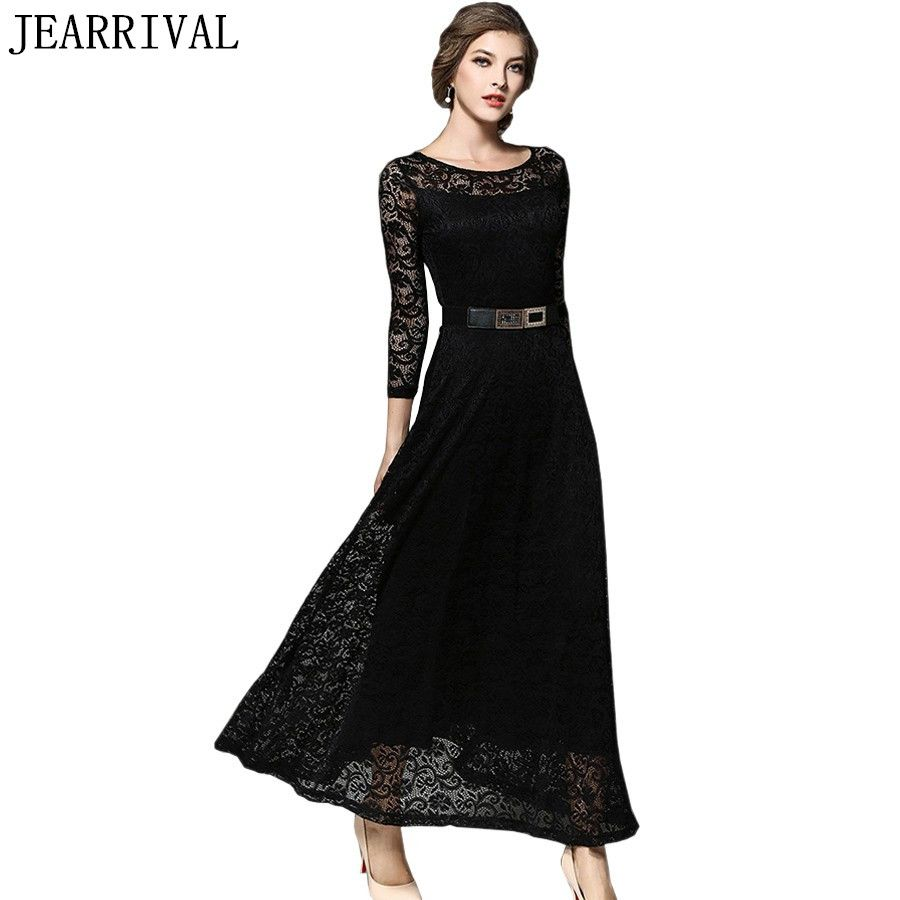 84ed4cb48f Elegant Black White Lace Dress 2017 New Summer Fashion Women 3/4 Sleeve  Vintage Long Maxi Dress Evening Party Dresses Vestidos Price: 50.20 & FREE  Shipping ...
