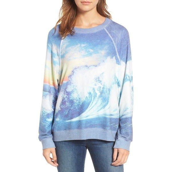 Women's Wildfox Blue Crush Sweatshirt ($118) ❤ liked on Polyvore featuring tops, hoodies, sweatshirts, multi color, multi color tops, blue sweatshirt, wildfox, wildfox sweatshirts and colorful sweatshirts
