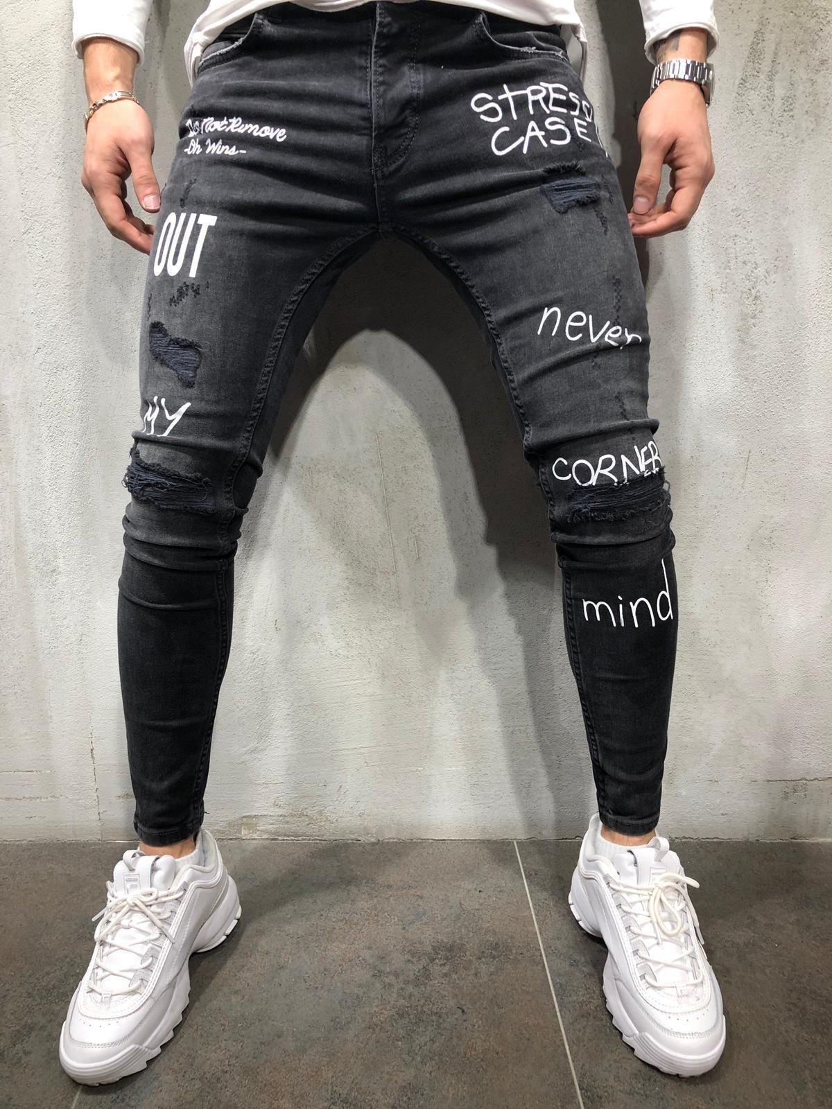 47e6b2eac Random Ripped Printed Jeans - Black in 2019 | Jeans | Streetwear ...