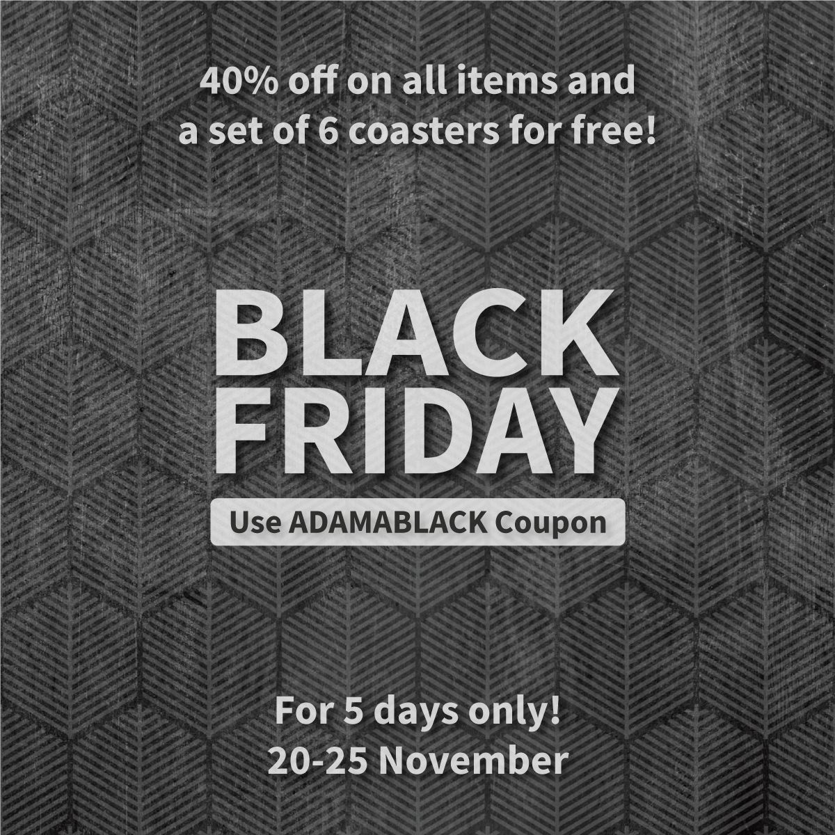 You Can Enjoy Our Black Friday Sales Until This Sunday We Have 40 Off On All Items And A Set Of 6 Coasters For Free Vinyl Rug Retail Logos Wall Stickers