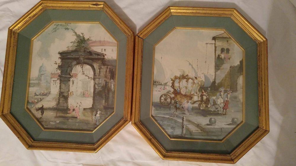 Set of 2 Roderic Montagu 1957 Vintage Watercolor Framed Color ...
