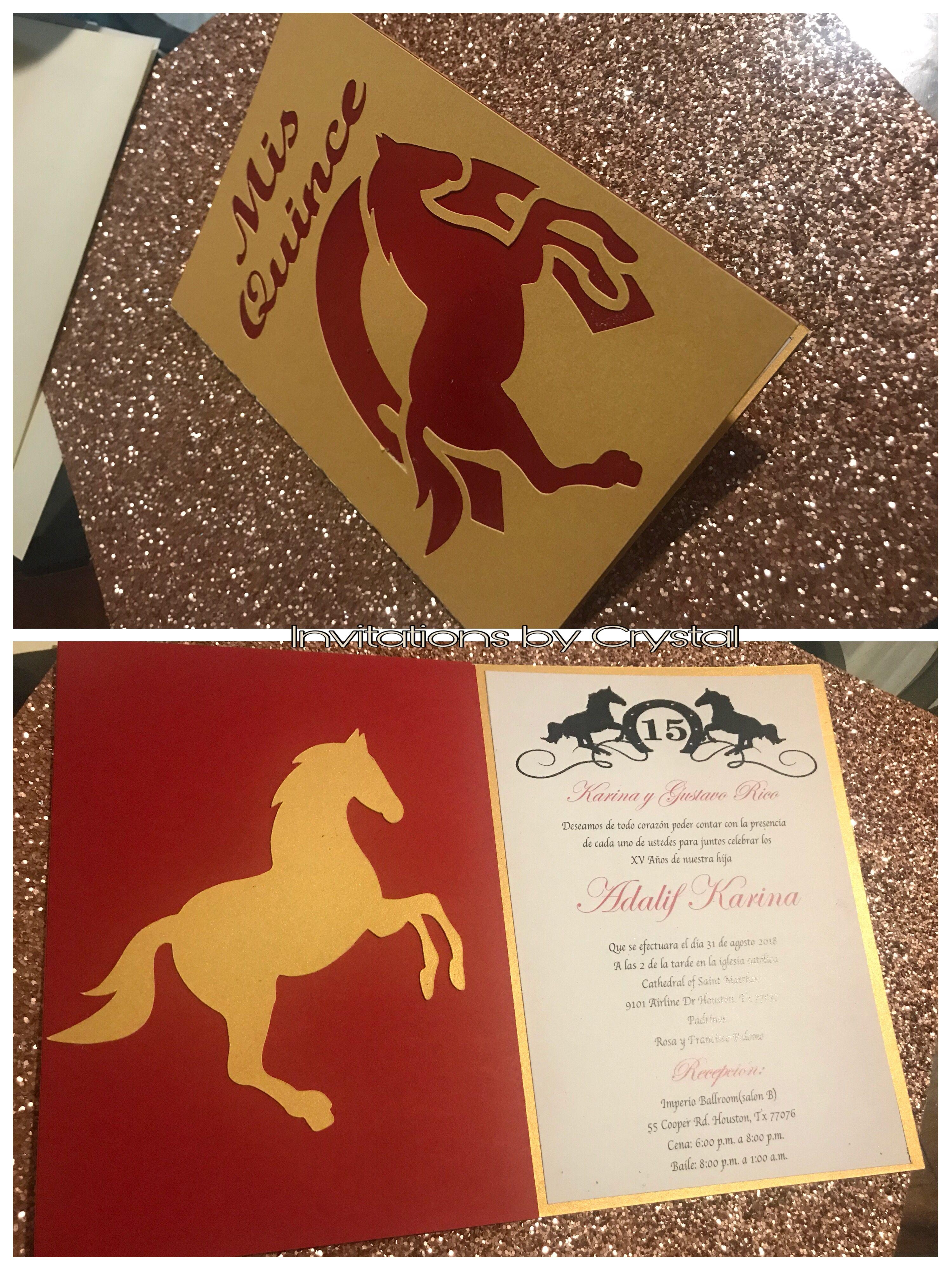 Invitaciones vaqueras rojo y dorado $2.25   CRYSTAL\'S INVITATIONS ...