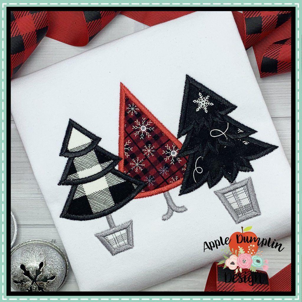 Christmas Tree Trio Applique Design Embroidery Machine Applique Designs Christmas Applique Machine Embroidery Applique