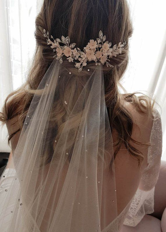 WISTERIA | Floral bridal hair piece, wedding headpiece with blush flowers