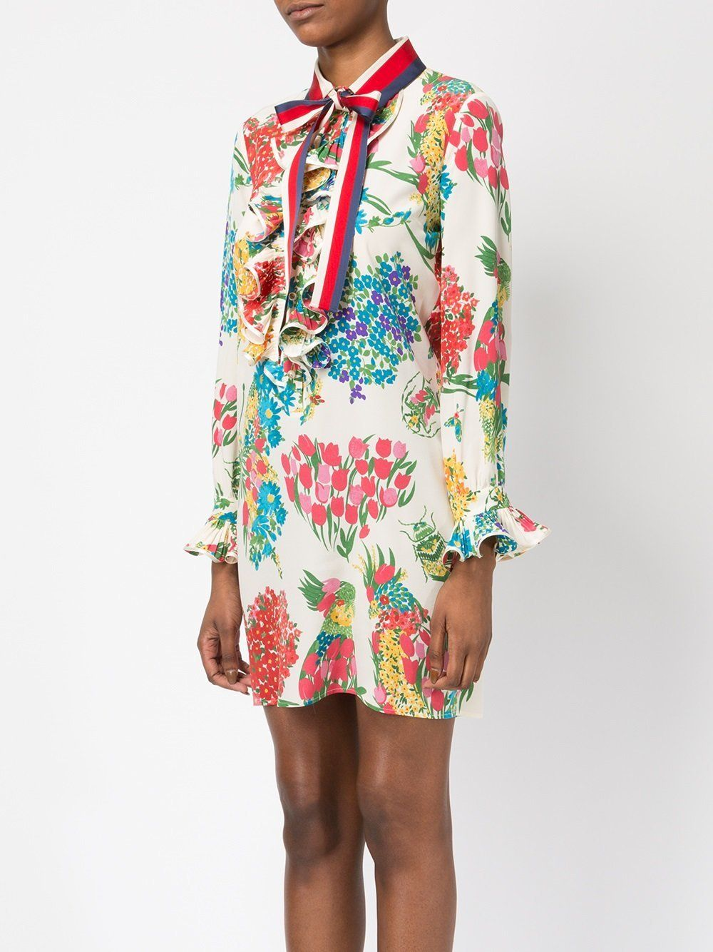 85cb1e372 Gucci Floral Print Ruffle Trim Shirt Dress in 2019 | GUCCI | Gucci ...