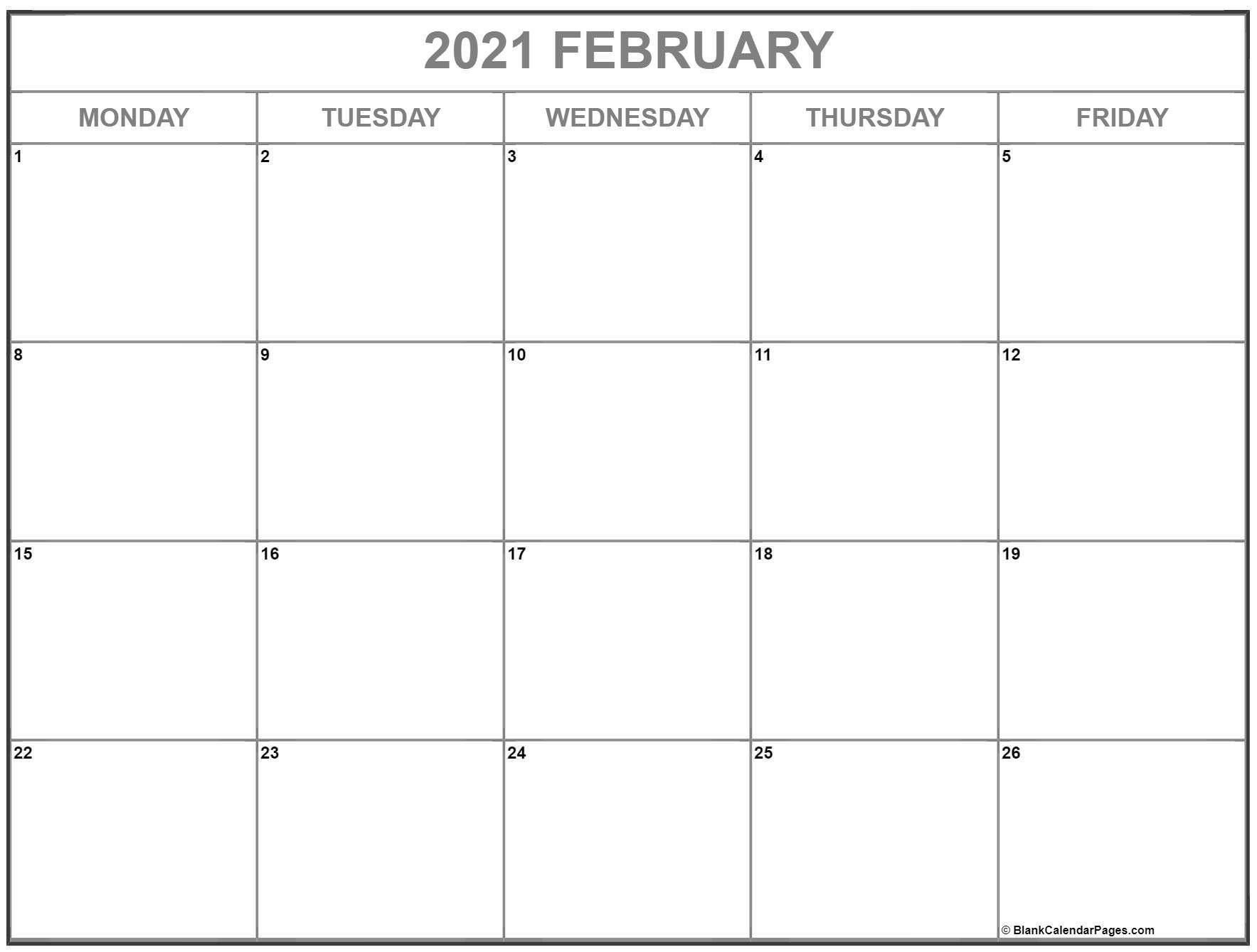 January February 2021 Calendar Monday To Friday Calendar Printables Monthly Calendar Printable Printable Calendar Template Blank monday through friday calendar