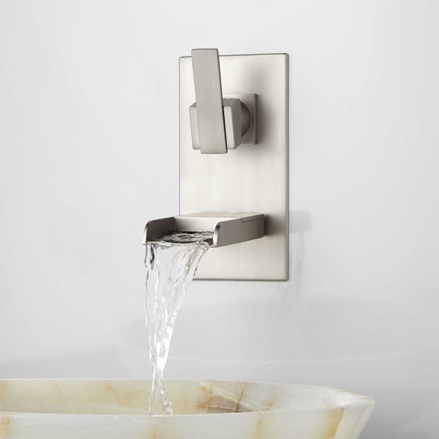 Wall Mounted Waterfall Tub Faucet Brushed Nickel