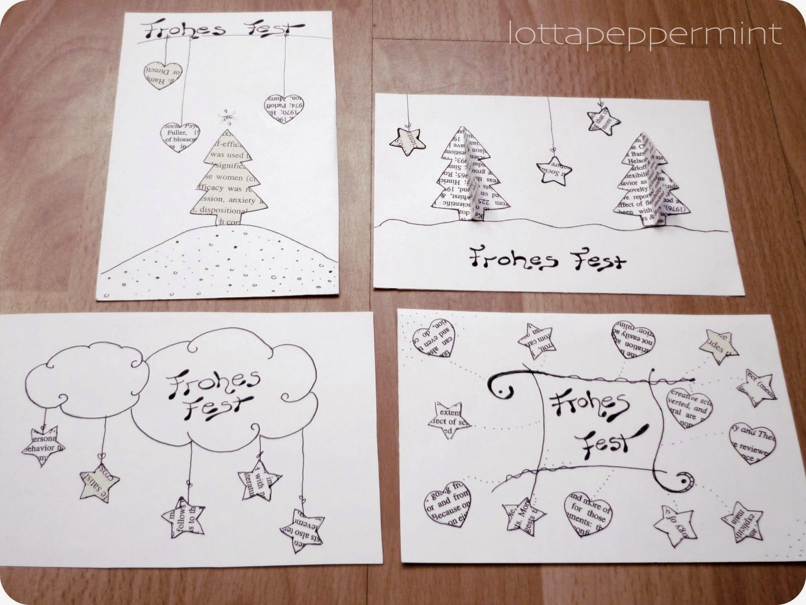 diy weihnachtskarten aus alten studienunterlagen lottapeppermint diy art pinterest. Black Bedroom Furniture Sets. Home Design Ideas