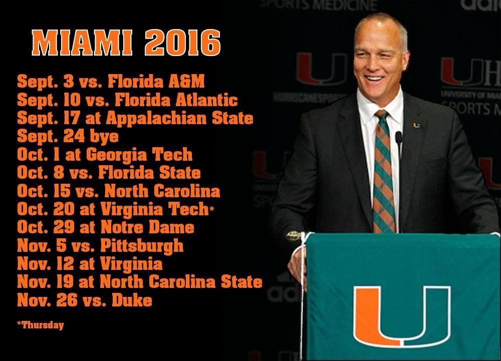 2016 umiami hurricanes football schedule ncaa university