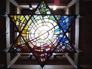 Beautiful stained glass Star of David