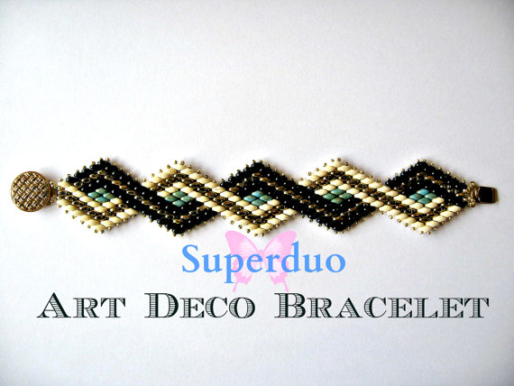 Tutorial Superduo Bracelet Peyote Art Deco Instant Pattern