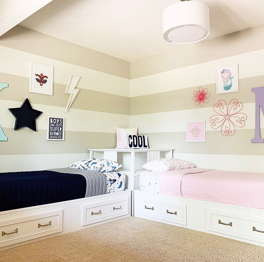 Interior Design Kids Decor On Instagram Sharing A Room With Your Brother Or Sister Isn T So Bad With A Space Girl Room Shared Girls Bedroom Cool Kids Rooms