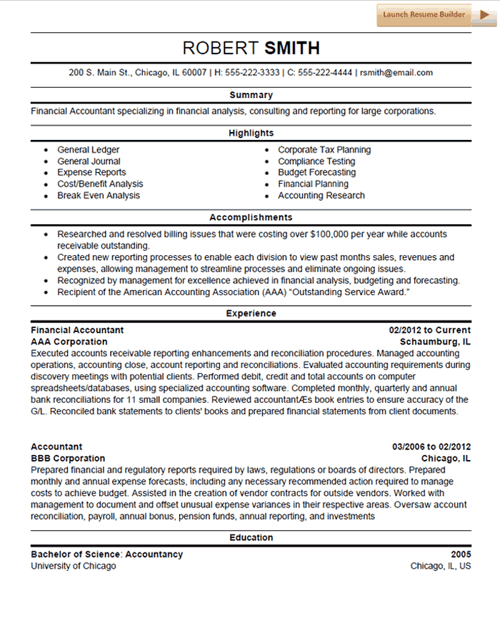 Accounting Resume Template Accountant Resume Accounting Budget Forecasting